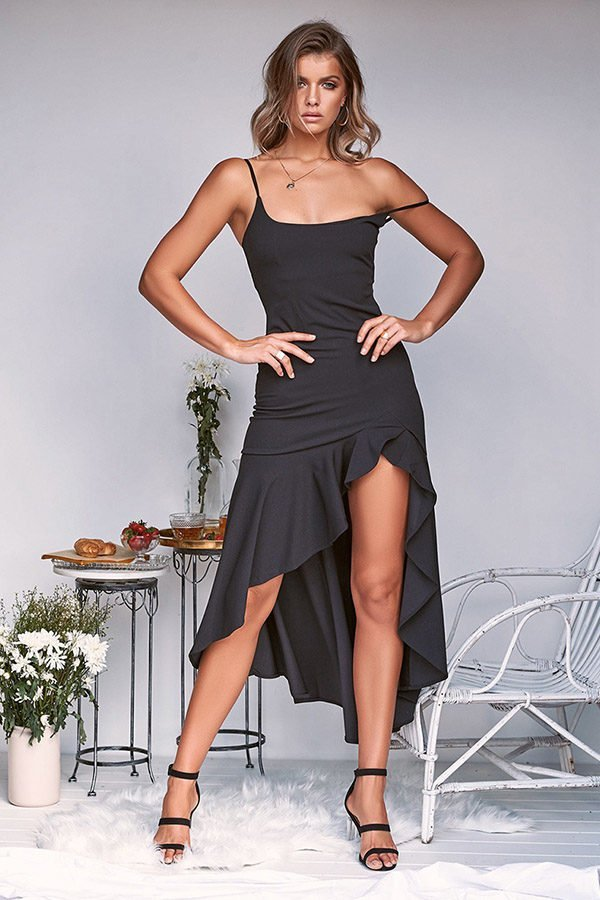 Hualong Sexy Strap Flounce Black Sleeveless Cocktail Dresses