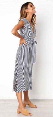 Hualong Sexy V Neck Short Sleeve Blue Vertical Striped Dress