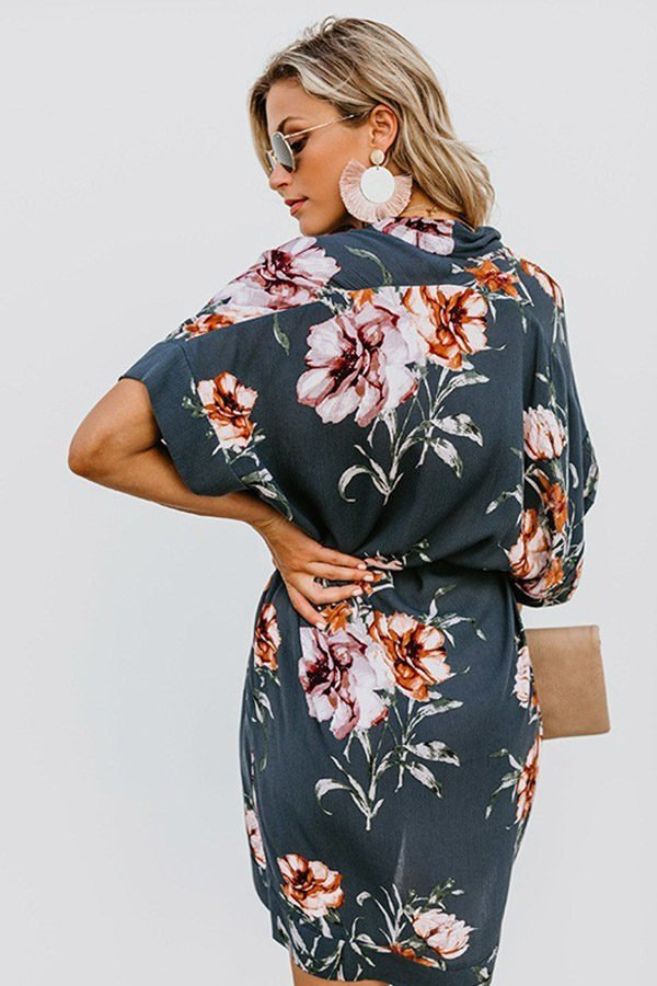 Hualong Sexy V Neck Short Sleeve Gray Blue Flower Summer Dress