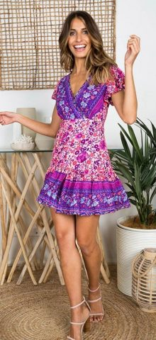 Hualong Sexy V Neck Short Sleeve Purple Floral Summer Dress