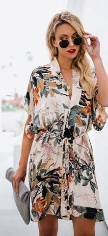 Hualong Sexy V Neck Short Sleeve White Flower Summer Dress