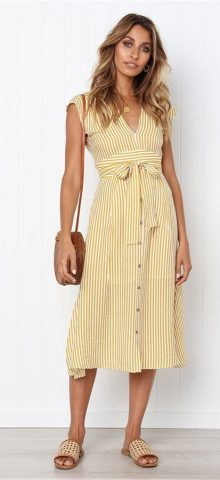 Hualong Sexy V Neck Short Sleeve Yellow Vertical Striped Dress