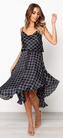 Hualong Summer Cute Strap Dark Blue Sleeveless Plaid Dress