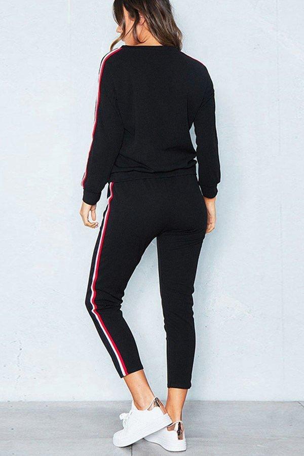 Hualong Women Long Sleeve Black Workout Outfit Sets