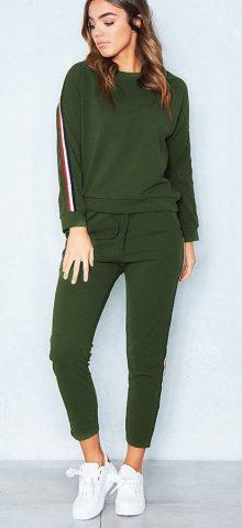 Hualong Women Long Sleeve Green Workout Outfit Sets