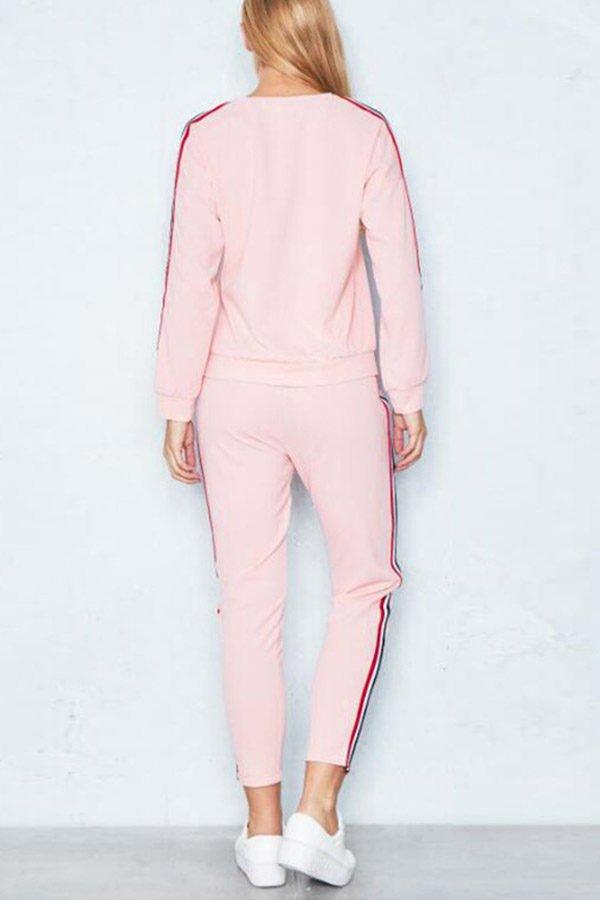 Hualong Women Long Sleeve Pink Workout Outfit Sets