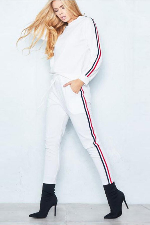 Hualong Women Long Sleeve White Workout Outfit Sets
