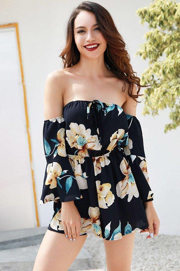 Hualong Black Flare Sleeve Off The Shoulder Floral Romper