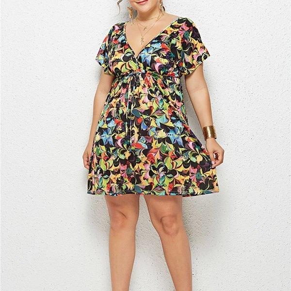 Hualong Cute Floral Printed Cheap Plus Size Summer Dresses