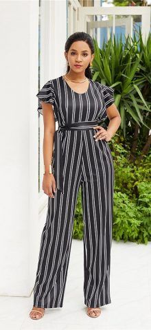 Hualong Cute Short Sleeve Black And White Striped Jumpsuit