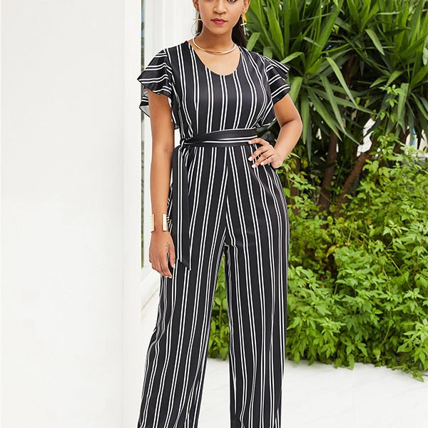 9a100f81 Hualong Cute Short Sleeve Black And White Striped Jumpsuit