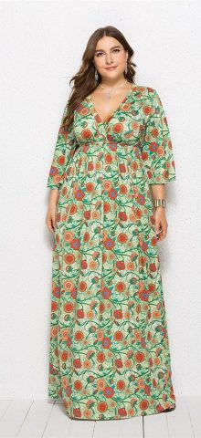 Hualong Cute V Neck Long Sleeve Plus Size Floral Pleated Maxi Dress