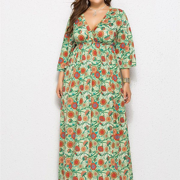 1577d71b09ee Hualong Cute V Neck Long Sleeve Plus Size Floral Pleated Maxi Dress
