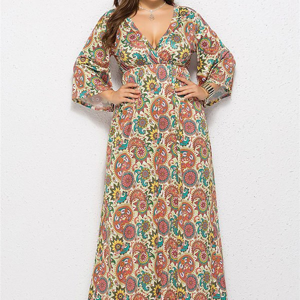 18b64abec222 ... Hualong Cute V Neck Long Sleeve Plus Size Floral Pleated Maxi Dress ...