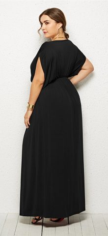 Hualong Elegant Party Outfit V Neck Black Plus Size Long Maxi Dresses
