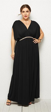 Hualong Elegant Party Outfit V Neck Black Plus Size Long Maxi Dresses 1