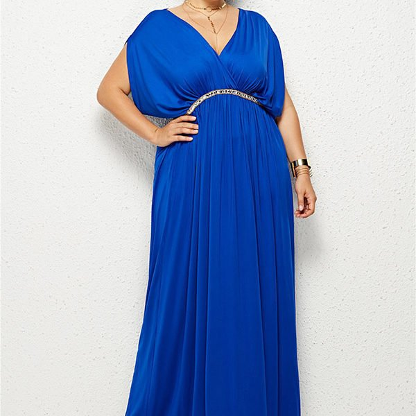 Hualong Elegant Party Outfit V Neck Plus Size Long Maxi Dresses