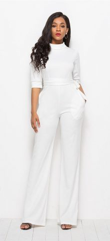 Hualong High Neck Half Sleeve White Womens Wide Leg Jumpsuit
