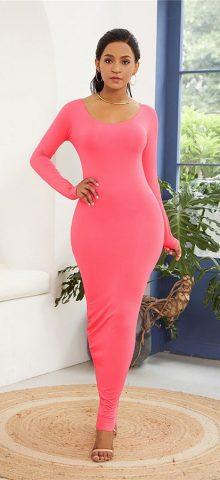 Hualong Sexy Long Sleeve Rosy Bodycon Evening Dress