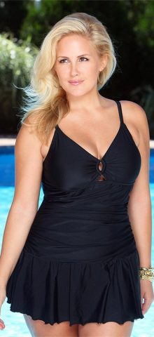Hualong Sexy Strap Black Plus Size One Piece Swimsuit With Skirt