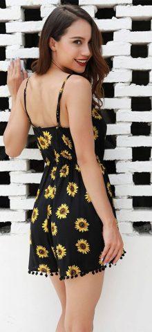 Hualong Strap Off The Shoulder Black Floral Print Romper