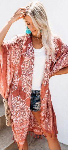 Hualong Cheap Printed Brown Swimsuits Kimono Cover Up