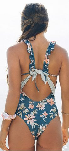 Hualong Cute Sleeveless Blue Floral One Piece Swimsuit