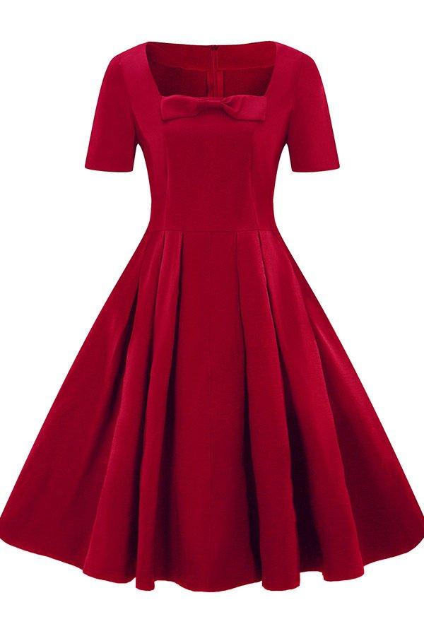 Hualong Elegant Short Sleeve Skater Plus Size Vintage Dresses