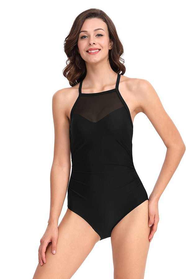 Hualong Sexy Black Backless Halter Pretty One Piece Swimsuits