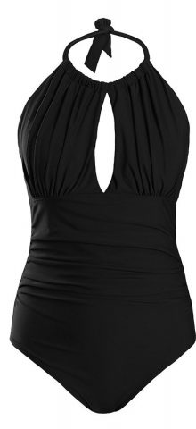 Hualong Sexy Black Halter Top One Piece Swimsuit