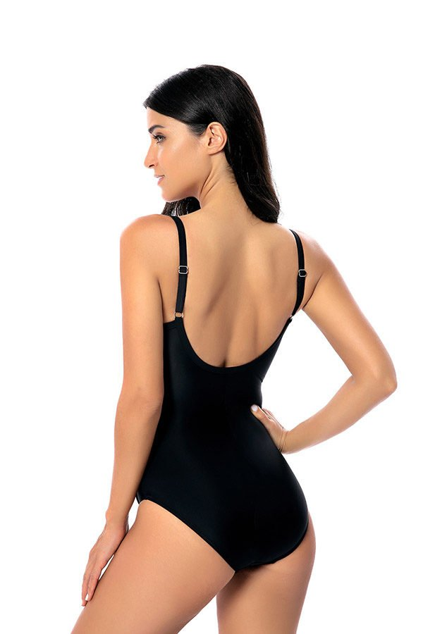 Hualong Sexy Black Low Back One Piece Swimsuit