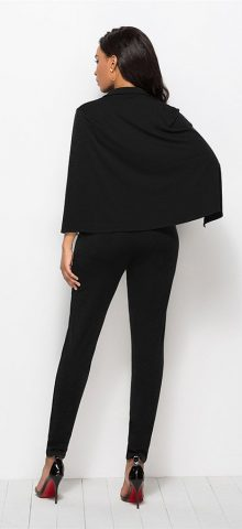 Hualong Sexy Cape Deep V Neck Black Tight Fitted Jumpsuit