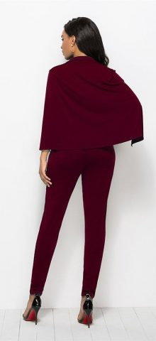 Hualong Sexy Cape Deep V Neck Burgundy Jumpsuit Outfit