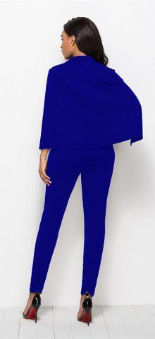 Hualong Sexy Cape Deep V Neck Royal Blue Jumpsuit