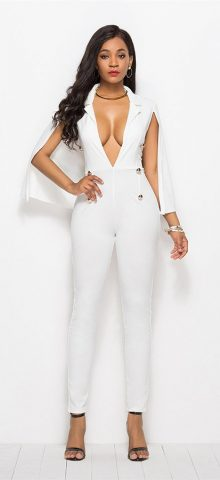 Hualong Sexy Cape White Deep V Jumpsuit