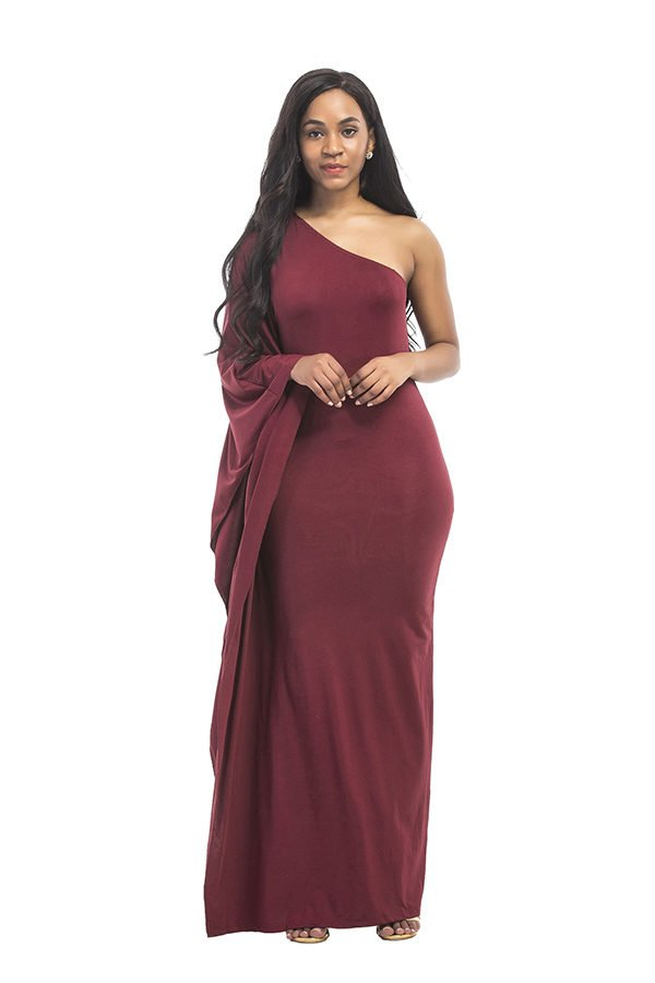 Hualong Sexy Fitted Burgundy Plus Size One Shoulder Maxi Dress