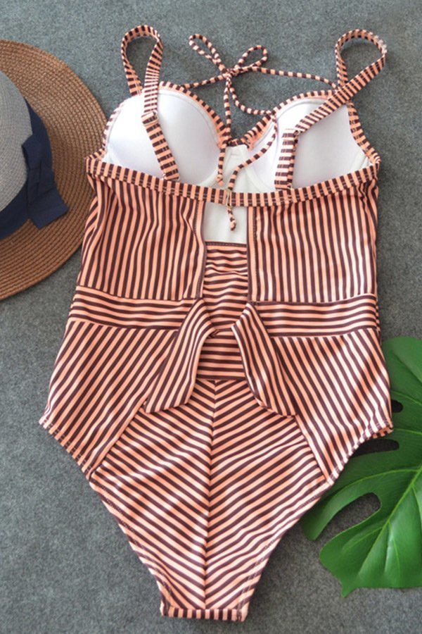 Hualong Sexy Halter Striped One Piece Swimsuit