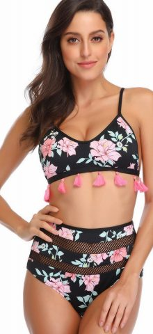 Hualong Sexy High Waist Black Floral Two Piece Swimsuit