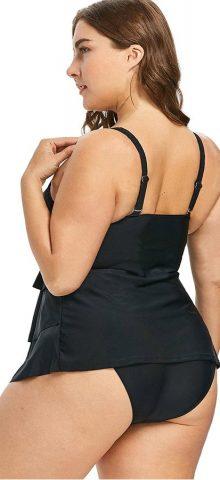 Hualong Sexy V Neck Black Plus Size Swimwear Tankinis