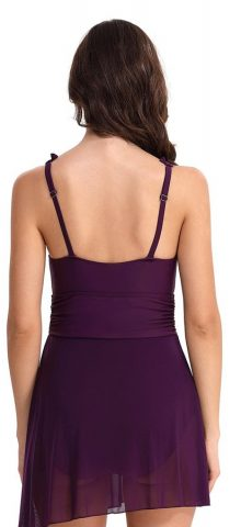 Hualong Sexy V Neck Purple One Piece Swimsuit
