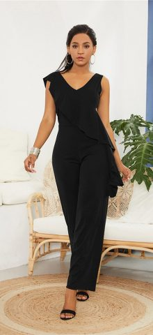 Hualong Wide Leg V Neck Black Sleeveless Jumpsuit