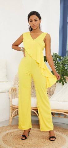 Hualong Wide Leg V Neck Yellow Sleeveless Jumpsuit