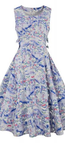 Hualong Cute U Neck Floral Print Sleeveless Skater Dress