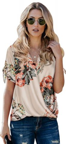 Hualong Cute V Neck Short Sleeve Floral Blouse Outfit