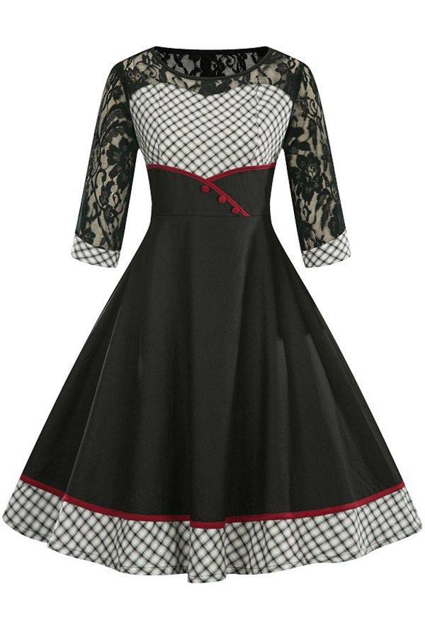6a6b4b6cea0d Hualong Elegant Black Grid Lace Vintage Skater Dress With Sleeves