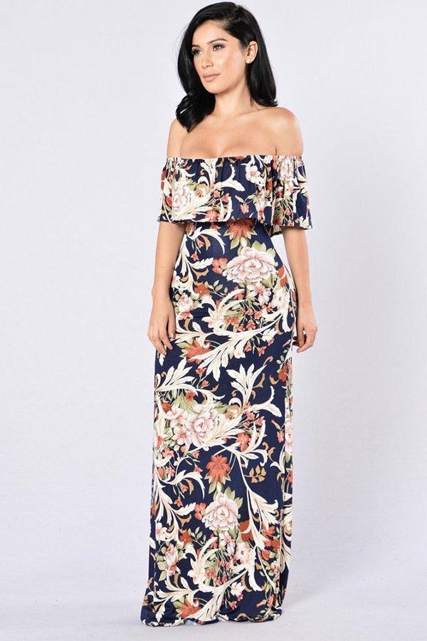 Hualong Elegant Long Off Shoulder Ruffle Floral Dress