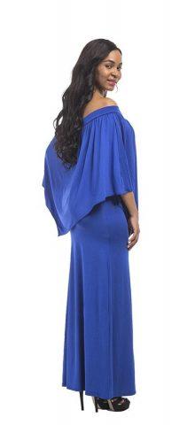 Hualong Elegant Off The Shoulder Blue Plus Size Cape Maxi Dress