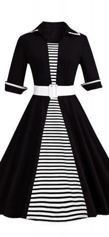 Hualong Elegant Short Sleeve Black Plus Size Belted Skater Dress