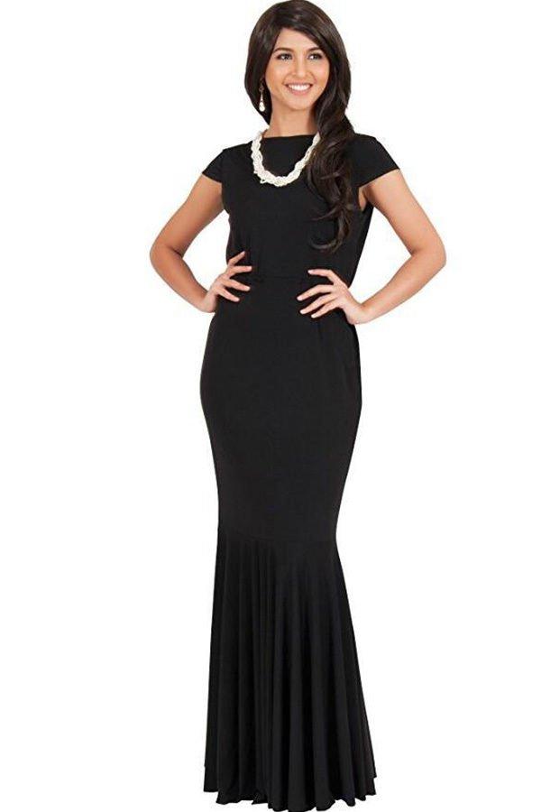 Hualong Elegant Short Sleeve Plus Size Maxi Dresses