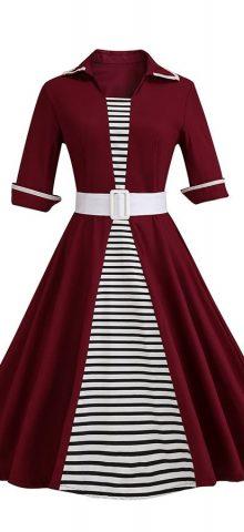 Hualong Elegant Short Sleeve Burgundy Plus Size Belted Skater Dress